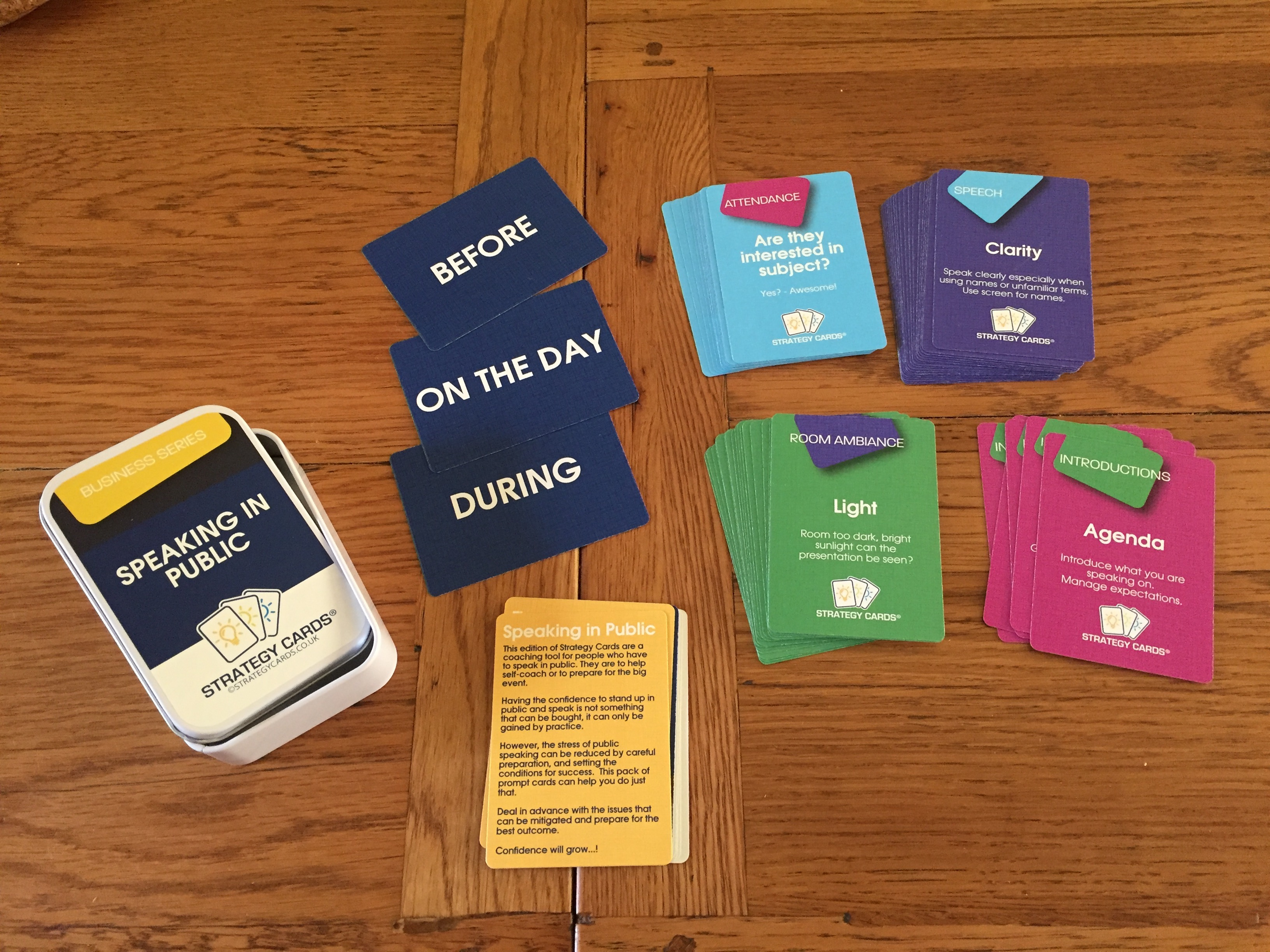 Public speaking prompt cards